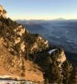 Lever du soleil sur le sangle, les Bauges et le Mont-Blanc